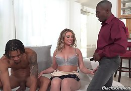 Sexy Kayley Gunner gets to bang with two black guys up ahead same time