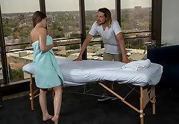 Penelope Kay rubs and tugs a married man