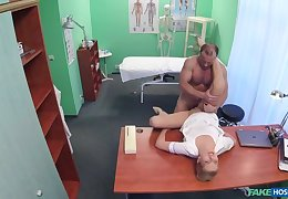 Sexy take responsibility for gets creampied by doctor