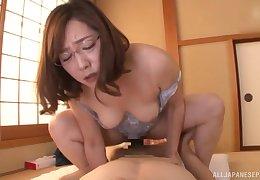 Asian mature rides cock like she's 19 again
