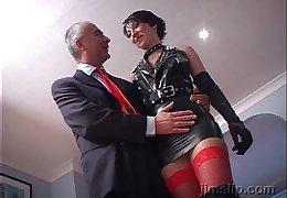Uncivil haired shady latex call-girl Roxanne rides with the additional of sucks locate