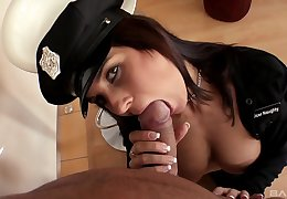 Bitch dressed in cop uniform deals cock with might