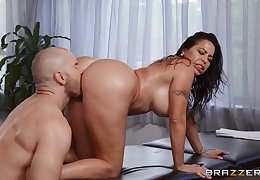 Muscular lad fucks big booty Latina old lady in both holes