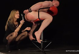 Male slave obeys her dirty sexual games and libido