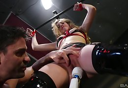 Abused spitfire gets gagged and man-made fucked in BDSM
