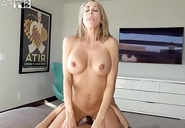 Plowing a big-titted platinum-blonde step- mom not all there finer than milking off while seeing VR porno