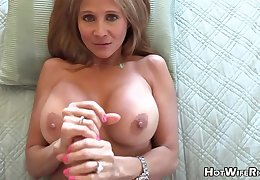 Mature blond housewife with phat milk globes is frolicking with her paramour's unnerve rigid manstick