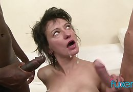 Zazala Coquine takes 2 dicks and 2 messy loads apropos interracial MFM trio