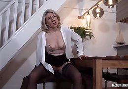Black man is fucking a mature, mart woman, Julie Francais, while her husband is working