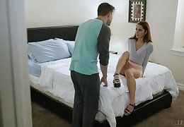 Horny redhead Vanna Bardot spreads her legs for a round of hot carnal knowledge